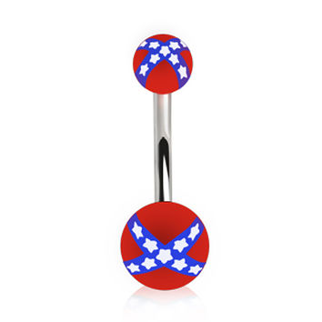 316L Surgical Steel Navel Ring with UV REBEL Flag Balls