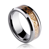 Vintage engagement Dragon Tungsten steel Ring for Men & women lord Wedding rings Band male new punk ring for lovers