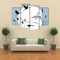Drawing Of Flying Birds Multi Panel Canvas Wall Art
