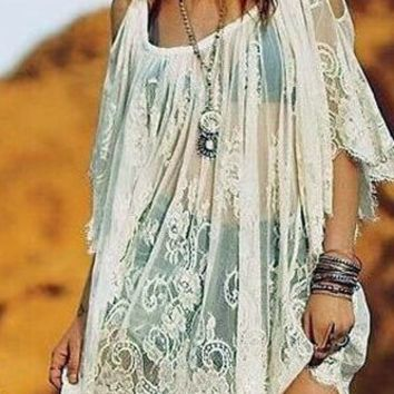 Lace White Cover Up