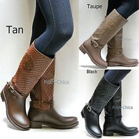 New Women FCod Tan Black Taupe Quilted Riding Knee High Rain Boots 6 to 10