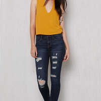 PacSun Dark Dreamy Ripped Ankle Jeggings at PacSun.com
