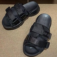 DIOR letter slippers, wear new beach sports daddy sandals thick-soled sponge cake-soled velcro Shoes Black