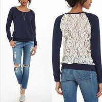 Hot Sale Lace Patchwork Long Sleeve Hoodies Round-neck T-shirts [4962085060]