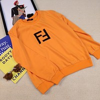 Fendi Solid Color Embroidered Double F Letter Long Sleeve Crew Neck Sweatshirt