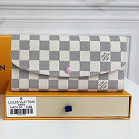 LV Louis Vuitton Hot Sale Printed Letter Button Flap Long Wallet Key Case bag