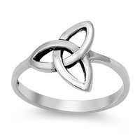 Triple Goddess Triquetra Wiccan Ring 13MM Sterling Silver 925