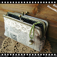 Town Newspaper Two-compartmentCoin metal purse / Coin Wallet / Pouch coin purse / Kiss lock frame purse bag-GinaHandmade