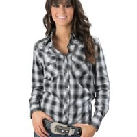 Cowgirl Hardware® Women's Black and White Plaid with Silver Lurex and Diamond Studs Long Sleeve Western Shirt