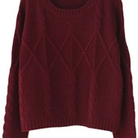 Oasap Chic Women Round Neckline Long Sleeves Solid Cable Knit Sweater