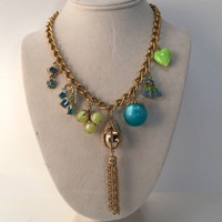 Fruit Punch Necklace, Bright Charm Assemblage, Teal Green Tassel Necklace, Reclaimed Vintage Jewelry