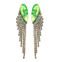 Hologram Green Drape Earrings