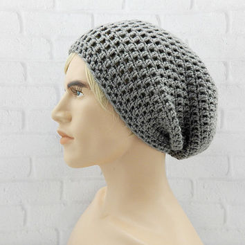 Crochet Slouchy Hat, Vegan Beanie , GREY Hat, Mens Beanie Cap, Winter Slouch Hat, Mens Fashion Beanie, Baggy Crochet Hat, Slouch Hat
