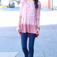 Tie Dye Relaxed Peplum {Red Mix}