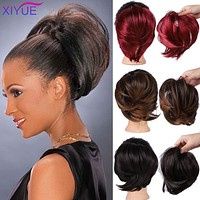 Short Straight Chignon With Elastic Band Synthetic Scrunchie Messy Hair Bun High Temperature Fiber Hairpieces Extensions