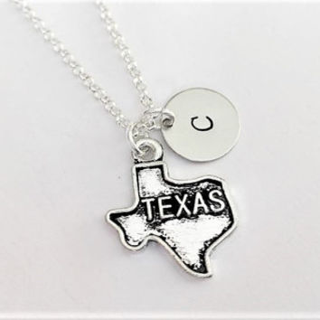 Texas necklace personalized initial necklace, Texas jewelry, Texas map necklace, friendship necklace, Texas friend no matter where monogram