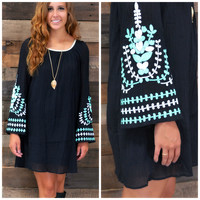 London Bridges Black Bell Sleeve Dress