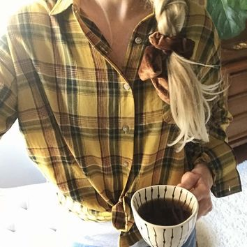 Laid-Back Plaid Top in Mustard