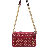 Rhinestone Studded Bling Messenger Satchel Bag Cross Body Chain Purse Fuchsia