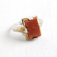Vintage Art Deco Sterling Silver Goldstone Ring - 1930s Size 8 Statement Adventurine Glass Two Tone Hallmarked Clark & Coombs Jewelry