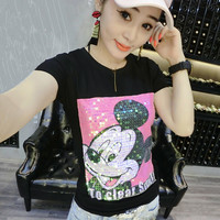 New  Women T shirts Fashion T-shirt O-neck Tops Cute Animal Character Sequined Bling Female Plus Size Woman t shirt 72528 SM6