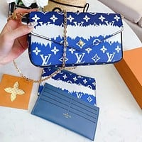 LV Fashion New Monogram Print Leather Chain Shoulder Bag Crossbody Bag Three Piece Suit Bag Blue