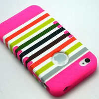 Pink SILICONE Rainbow Stripes Hybrid Rubberize CASE IPHONE 4 4S Accessory HARD
