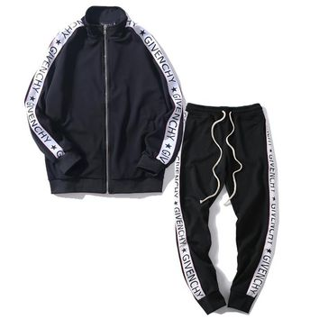 Givenchy  Women or Men Fashion Casual Loose Cardigan Jacket Coat Pants Trousers Set Two-Piece