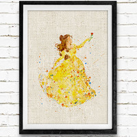 Belle Disney Princess Watercolor Art Print, Beauty and the Beast Poster, Home Decor, Girl's Gift, Not Framed, Buy 2 Get 1 Free!