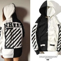 DCCKI2G OW Off-White Fashion Long Sleeve Cotton Top Sweater Pullover Hoodie
