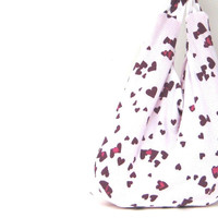 Reversible Purse. Cross Body Hobo Bag. Valentines Day Hearts. Hot Pink. Gift for her Under 50. Eco Fashion.