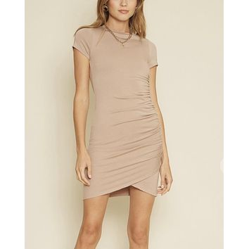 Charli One Side Shirred Dress in Mocha