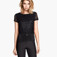 Lace top with Fringe - from H&M