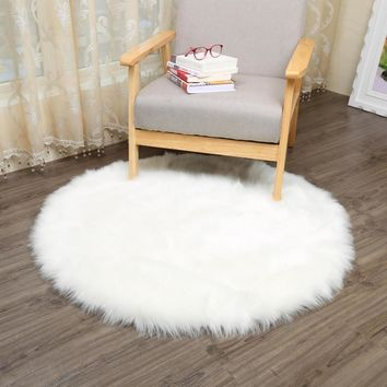 MUZZI round Sheepskin Chair Cover Seat Pad Soft Carpet Hairy Plain Skin Fur Plain Fluffy Area Rugs Bedroom Faux carpet Mat 006