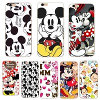 Fashion For iPhone 7 8 8Plus Case Mickey Minnie Mouse Coque  TPU soft Mobile Phone Cases For iPhone 7 5 5S SE 6 6S 6 Plus Cover