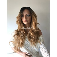 Dark Blond Ombre' Human Hair Multi Parting lace front wig 24' 41712