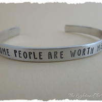 Hand Stamped Jewelry - Bracelet Cuff - Inspired by Frozen - Some people are worth melting for  - Unisex Gift - Gift for him - Gift For Her