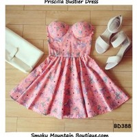 Priscilla Bustier Dress with Adjustable Straps (Pink with Bows Pattern) - Size XS/S/M BD 388 - Smoky Mountain Boutique