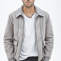 Faux Suede Bomber Jacket Grey