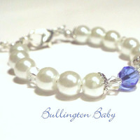 Baby Pearl and Birthstone Bracelet, Baby Bracelet, Baby Jewelry, Baby Pearls, Birthstone Bracelet, Pearl Bracelet, Girls Bracelet (B11)