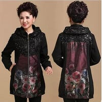 Size XL XXL XXXL xxxxl (bust 120cm) Middle-aged and old warm hooded Cardigan coat plus size women's clothing free shipping