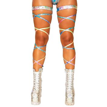 Sexy Come Down Rainbow Leg Wraps with Attached Garter
