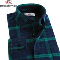 Cotton Hot New Men Plaid Long-sleeved Casual Shirts Flannel Slim Fit Spring Male Business Fashion