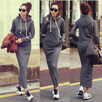 Fleece Winter Bodycon Maxi Hoodie Sweater Dress