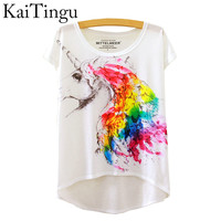 2016 Brand New Fashion Summer Asymmetric High Low Style Harajuku Magic Unicorn Print Short Sleeve T Shirt Summer Tops For women