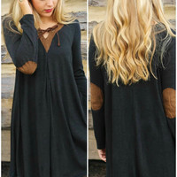 Into The Woods Black Knit Long Sleeve Dress With Brown Suede Collar & Elbow Patches