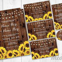 Wedding Invitations Set Template Rustic Package Printable Invites Save The Date INSTANT DOWNLOAD Tags Wood Sunflower Personalize Editable
