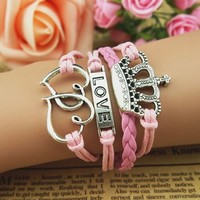 New Fashion beautiful Double love crown wax rope four cortical bracelet