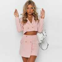 Fashion 2 Piece Women Skirt Suits Button Short Blazer And Mini Skirts Two Pieces OL Matching Sets Office Lady Outfits New