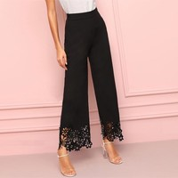 Elegant Black Hollowed Out Wide Leg Pants Women High Waist Solid Trousers Ladies Elastic Waist Pants